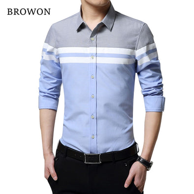 Fashion Mens Shirts Brand Clothing Slim Fit Patchwork Stripe Clothes Male Long Sleeve Shirt
