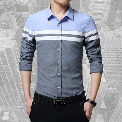 New Fashion Mens Shirts Slim Fit Patchwork Stripe Clothes Long Sleeve - BC&ACI