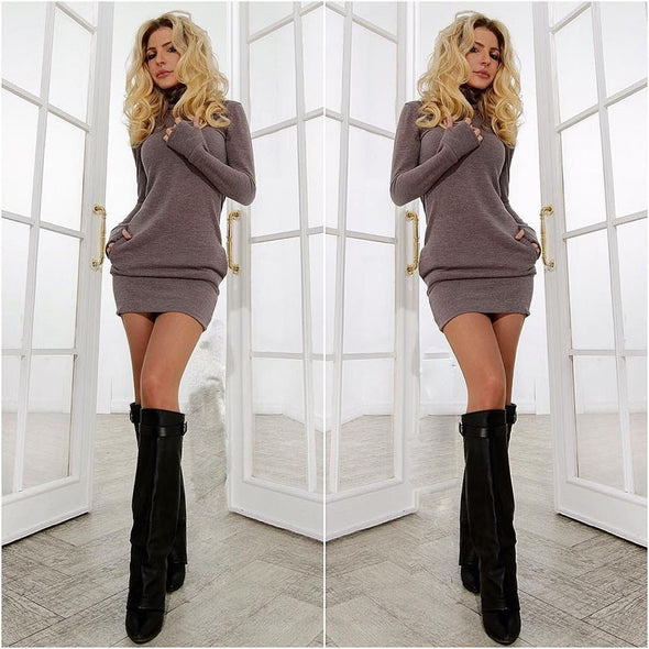 Sexy Sheath Dress Spring Autumn Casual Knitting Turtleneck Mini Nightclub Hip Dress - BC&ACI
