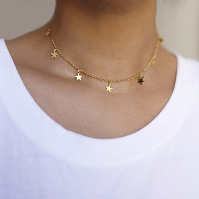 2018 New Fashion Drop 7 Star Choker Necklace Gold Star Necklace L114