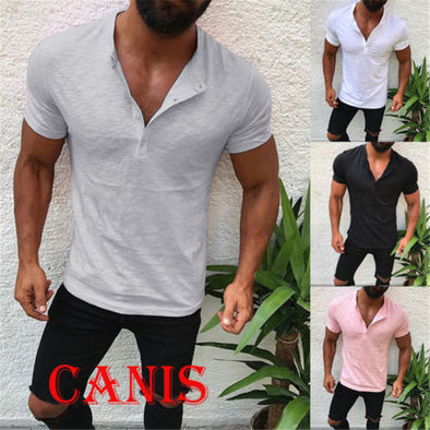 2018 New Fashion Hot Popular Men's Slim Fit V Neck Short Sleeve Muscle Tee T-shirt Casual Tops Henley Shirts