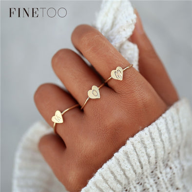 2018 New Heart Shape A-Z Initial Ring Silver Gold Color Stacking Personalized Letter Rings for Women Bague Femme Name Jewelry