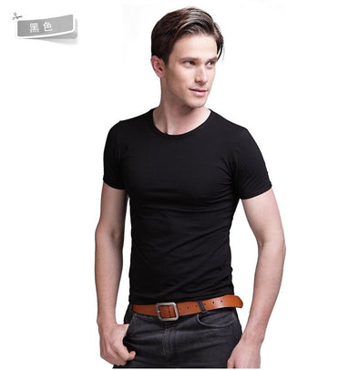 New Slim T-Shirts Pure Color O/V-Neck Short Sleeve Fashion Men's Summer Tee Shirts Slim Fit
