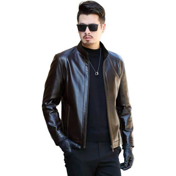 2019 Autumn Winter Men's Leather Jacket Casual Fashion Stand Collar