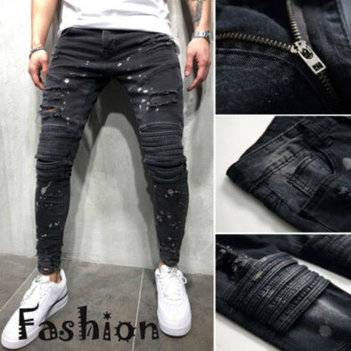 New Men's Ripped Slim Jeans - BC&ACI