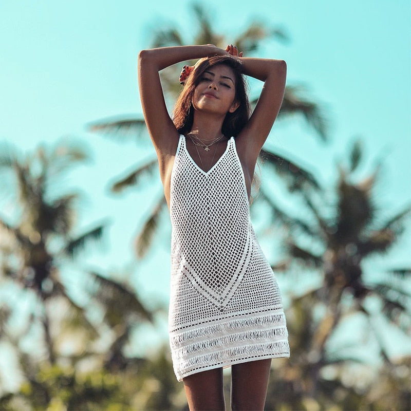 205eb23862 New Sexy Beach Cover Up Bikini Crochet Knitted Swimwear Summer Beach Wear  Hollow Out Swimsuit Cover Up Beach Dresses