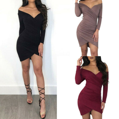 New  Sexy Women Long Sleeve Bandage Bodycon Evening Party Club Mini Dress