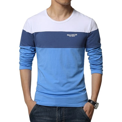 New Men's T Shirt O Neck Patchwork Long Sleeve T Shirt - BC&ACI