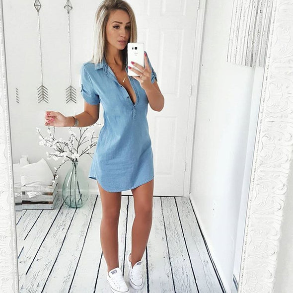 New Women Fashion Summer Casual Jeans Dress Short Sleeve High Quality Solid Denim  Turn Down Collar