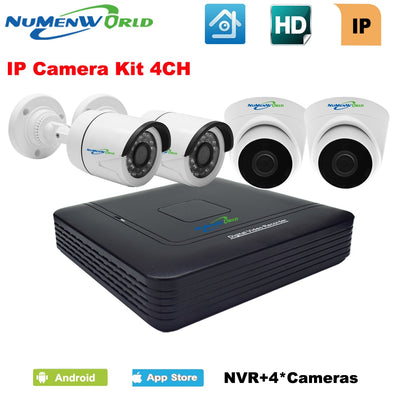 4 Channel 1080P NVR KIT with 4 outdoor/indoor CCTV IP camera 720P