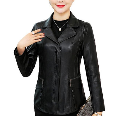Plus Sized Elegant Female Leather Jacket - BC&ACI