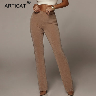 Articat Autumn High Waist Wide Leg Pants Women Winter Solid High