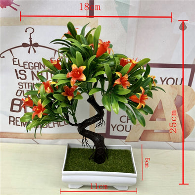 Pretty Artificial Green Plants Bonsai Plastic Rose Flowers Small Tree Pot Plant Potted - BC&ACI