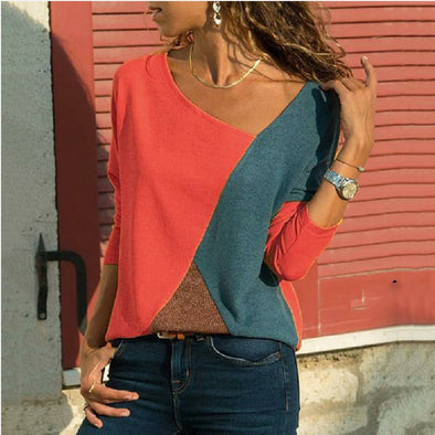 Autumn Winter Women Tshirt New Color Patchwork Long Sleeves Loose