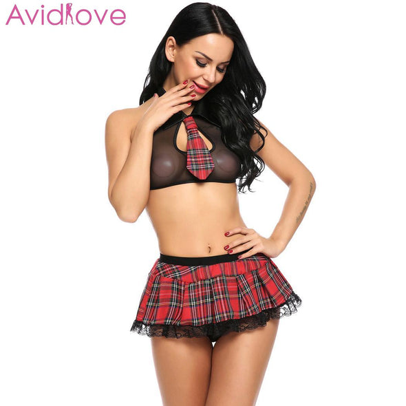 Sexy Avidlove Women Babydoll lingerie Set  cosplay Lingerie Schoolgirl Student Plaid Uniform Costumes Outfit - BC&ACI