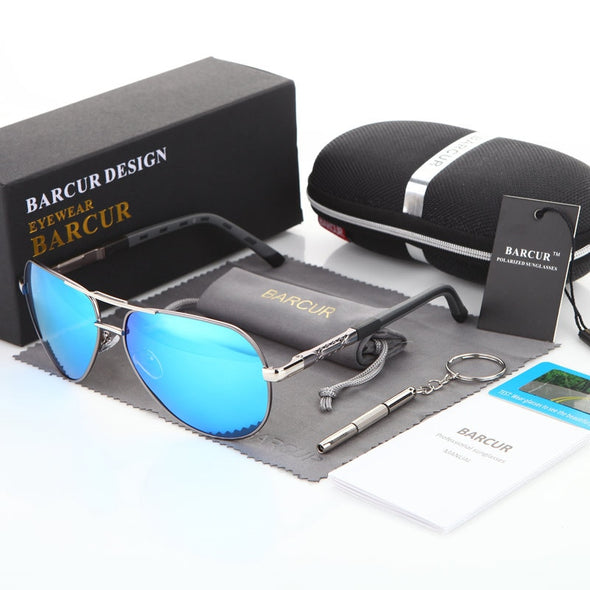 New BARCUR Aluminum Magnesium Men's Sunglasses Men Polarized - BC&ACI
