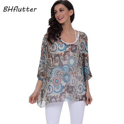 BHflutter 4XL 5XL 6XL Plus Size Women Clothing 2018 New Chiffon