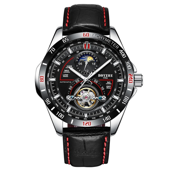 BOYZHE Men Automatic Mechanical Fashion Top Brand Sport Watches Tourbillon Moon Phase Stainless Steel Watch relogio masculino - BC&ACI
