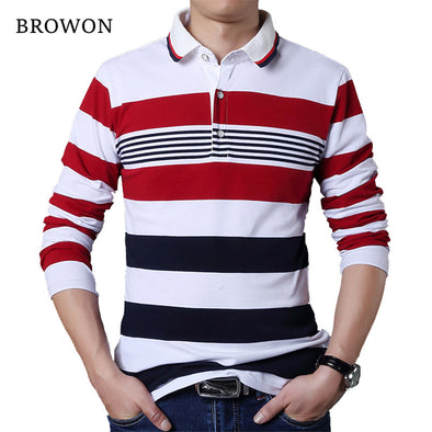 Autumn Casual Men T-shirt White and Red Stripe Pattern Fitness Long Sleeve Turn-down Collar Cotton Tops Stripe Clothes