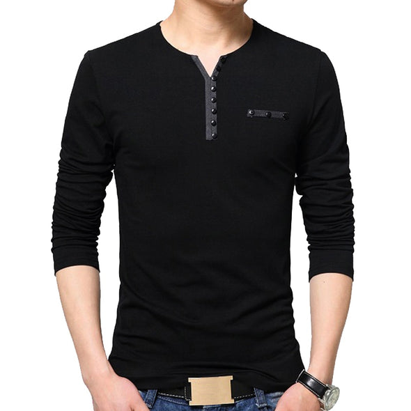T Shirt Men Oversize Oversized T Shirt Long Sleeve Henry Collar Cotton Slim Fit Tops T-shirt for Man - BC&ACI