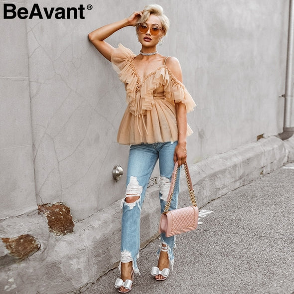 New BeAvant Off shoulder womens tops and blouses - BC&ACI