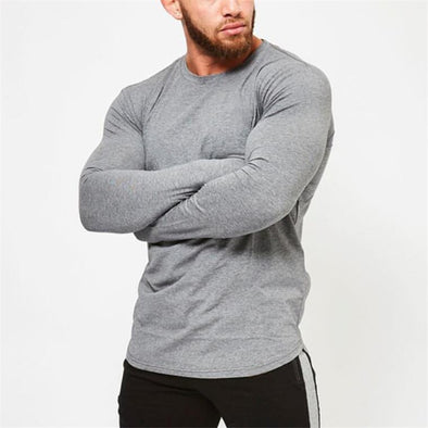 Mens longsleeve t shirt  Spring Autumn Slim Fitted T-shirts male Tops Leisure Bodybuilding Long Sleeve tees