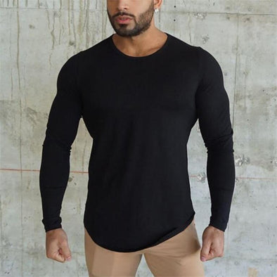 Brand fashion Mens t shirt 2018 Spring Autumn Slim longsleeve Fitted - BC&ACI