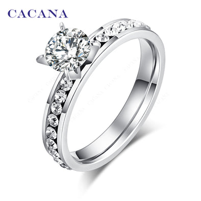 CACANA  Stainless Steel Rings For Women Circle CZ Personalized Custom Fashion Jewelry - BC&ACI