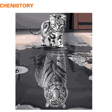 CHENISTORY Frameless Reflection Cat Animals DIY Painting By Numbers