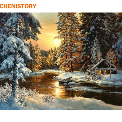 CHENISTORY Sunset Forest DIY Painting By Numbers Canvas Wall Art