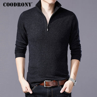New COODRONY Merino Wool Sweater Men Casual Zipper Turtleneck Pullover - BC&ACI