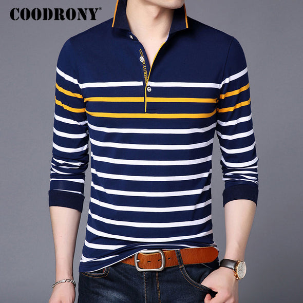COODRONY T Shirt Men Casual Striped Long Sleeve Tops Men Famous Brand Clothes 2018 - BC&ACI