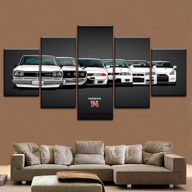 Canvas Painting HD Print Modular Artwork Modern 5 Pieces Nissa Skyline Gtr Car Pictures Home Decorative Wall Art Unique Poster - BC&ACI