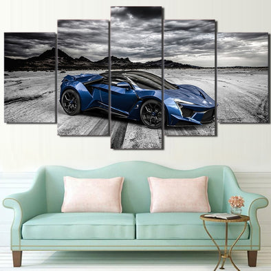 Pretty  Canvas Pictures Modular Wall Art Framed Posters 5 Pieces Cool Flashy Blue Luxury - BC&ACI