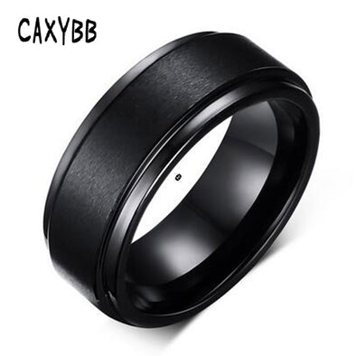 Caxybb Mens Rings 8 MM Wedding Band Black Silver Pure Carbide Tungsten Engagement Ring - BC&ACI