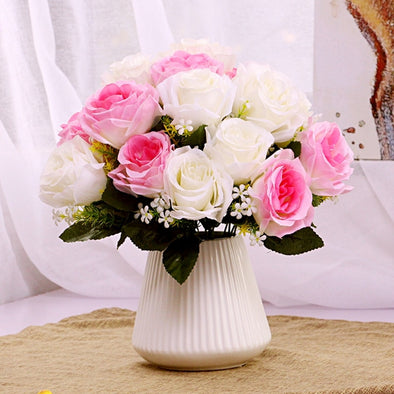 Ceramic Flower Inserted Ceramic White Tabletop Vase Home Decoration
