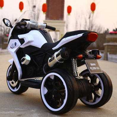 Children's electric motorcycle three-wheeled oversized can sit dual-drive