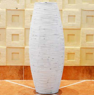 Pretty Chinese White & Brown Grey Bamboo Floor Vase Large Handcraft - BC&ACI