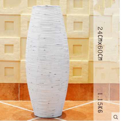 Chinese White & Brown Grey Bamboo Floor Vase Large Handcraft - BC&ACI