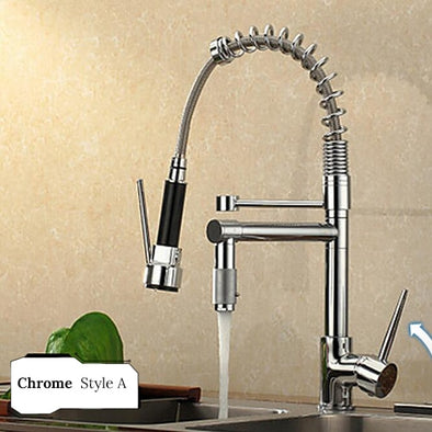 Chrome Spring Kitchen Faucet Pull out Side Sprayer Dual Spout Single Handle - BC&ACI