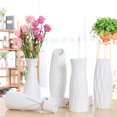 Classic White Desktop Ceramic Vase Simple Floor Vase Chinese Crafts