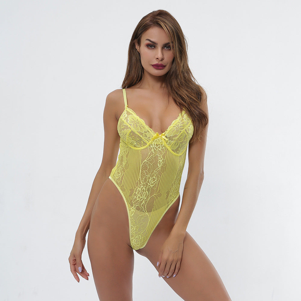2bbda06bfda7 Cryptographic hot sale sheer lace bodysuit women backless transparent mesh  bow sexy jumpsuit 2019 catsuit straps bodysuits thong