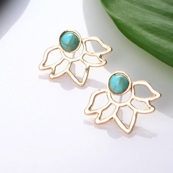 Crystal Flower drop Earrings For Women fashion Jewelry Double Sided Gold Silver earrings - BC&ACI