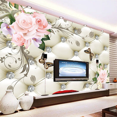 Custom 3D Mural Wallpaper European Style Rose Flower Pattern Diamonds - BC&ACI
