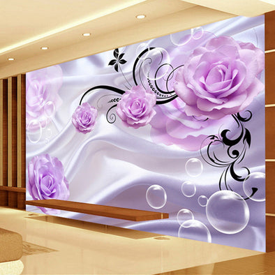 New Custom Photo Wallpaper 3D Floral Purple Rose Silk Background - BC&ACI