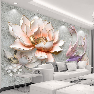 Custom Photo Wallpaper 3D Stereo Embossed Lotus Fish Large Murals Wall Painting - BC&ACI