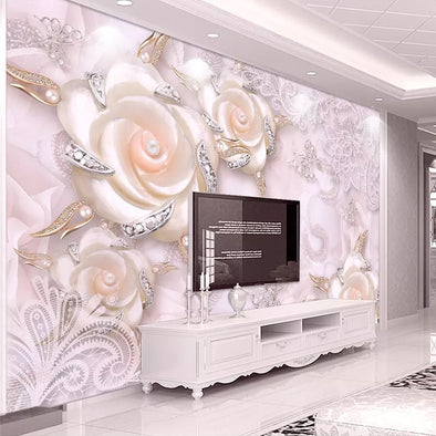 Custom Photo Wallpaper For Walls 3D Pink Flower Jewelry Pearl Wall Mural - BC&ACI