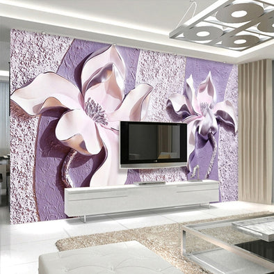 New Customize 3D Relief Purple Magnolia Background Wall Paper - BC&ACI