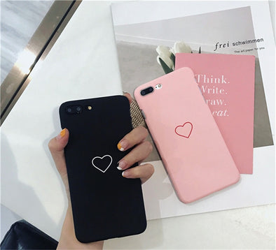 Cute Love Heart Print Back Cover For iPhone X 7 6 6S Plus 5 5S SE Phone Case Hard PC Cases Coque For iPhone 8 8 Plus 1 2