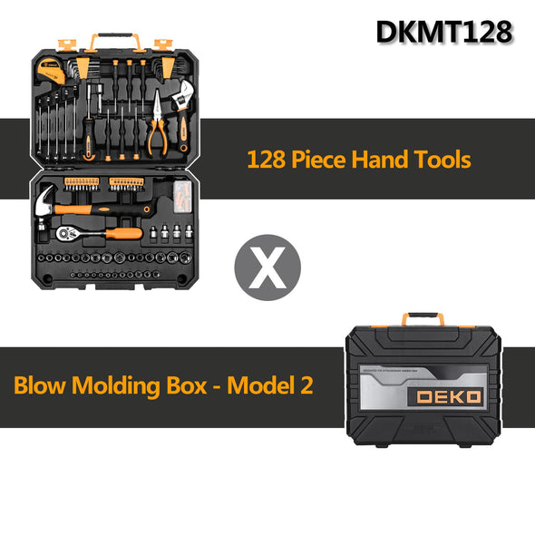 DEKO 128 Pcs Hand Tool Set General Household Hand Tool Kit with Plastic Toolbox Storage Case